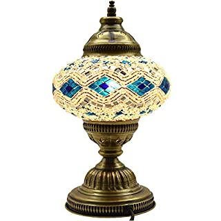 New BOSPHORUS Stunning Handmade Turkish Moroccan Mosaic Glass Table Desk  Bedside Lamp Light With Bronze Base