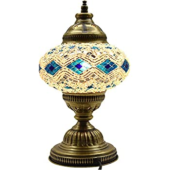 New BOSPHORUS Stunning Handmade Turkish Moroccan Mosaic Glass Table Desk Bedside Lamp Light with Bronze Base (Blue)
