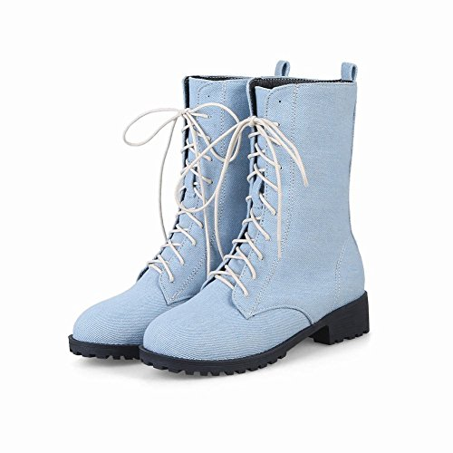 Mid Light Denim Casual Boots Women's Fashion Blue Concise Short Heel Carolbar aqzxnIFwWx
