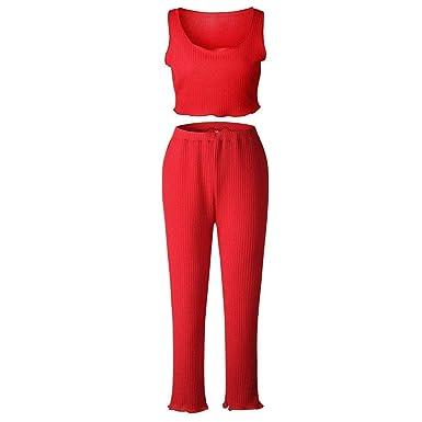 Chandal Mujer Verano Delgado Slim Fit Pantalon Crop Tops 2 Pedazos ...