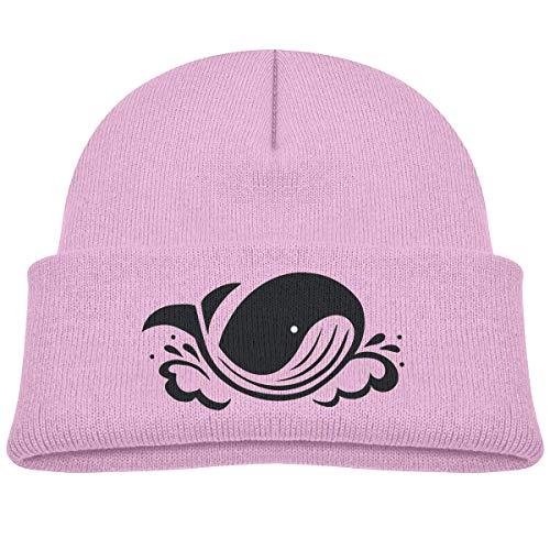 Kids Knitted Beanies Hat Black Whale Winter Hat Knitted Skull Cap for Boys Girls Pink