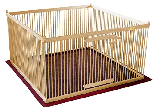 Pupperton P44-MA-BL-L-BRBK-PN Solid American Maple Indoor Pet Exercise Pen with Left-hinged Gate and Brown inside/Black outside Floor Mat, 4' W x 4' L x 26