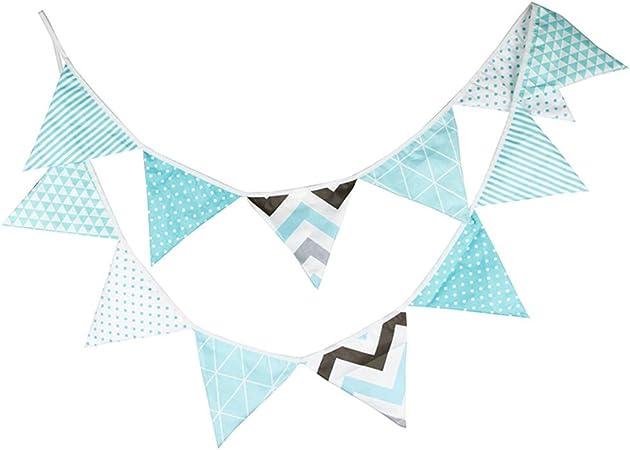 Ruikey paño de algodón Triángulo Bandera Guirnaldas Bandera de Tela Banderín Doble Cara Decoración para la Boda de niño Ceremonias de la Fiesta de cumpleaños Jardín Dormitorios Aula Bandera: Amazon.es: Hogar