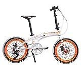 Rchibit RT20 Aluminum Frame White Mini Folding Bike Shimano 7 Speeds City Sports Folding Bicycle Mechanical Brakes