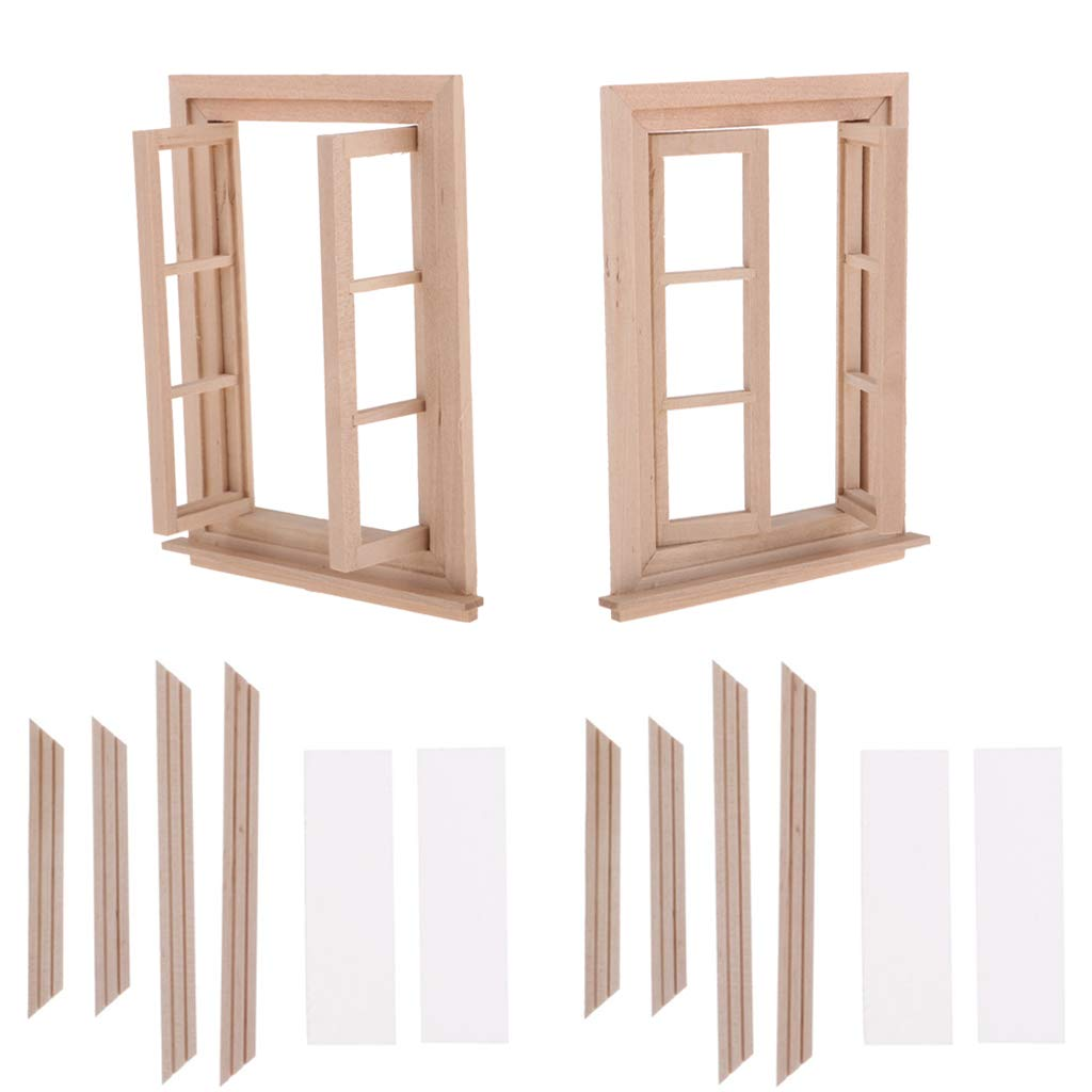 Fityle 2 Set Unpainted 1/12 Dolls House Miniature Wooden Movable 6 Pane Double Window Model DIY Accessories Collections