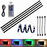 4pcs LED Strip Light,LED TV Background Lighting Kit,Multi-colour RGB 50cm LED Strip Light with 44-Key RGB IR Remote Control for Television Computer Desktop Laptop Background Decorative