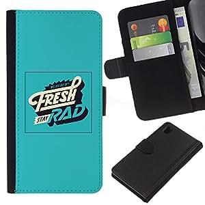 EJOY---La carpeta del tirón la caja de cuero de alta calidad de la PU Caso protector / Sony Xperia Z1 L39 / --Fresco cartel Rad Verde Vintage Retro