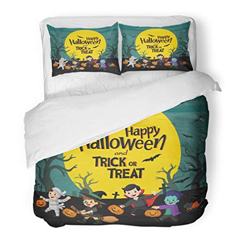 Emvency Bedding Duvet Cover Set Twin (1 Duvet Cover + 1 Pillowcase) Orange Cute Children Dressed in Halloween Fancy Dress to Go Trick Treating Happy Hotel Quality Wrinkle and Stain Resistant -