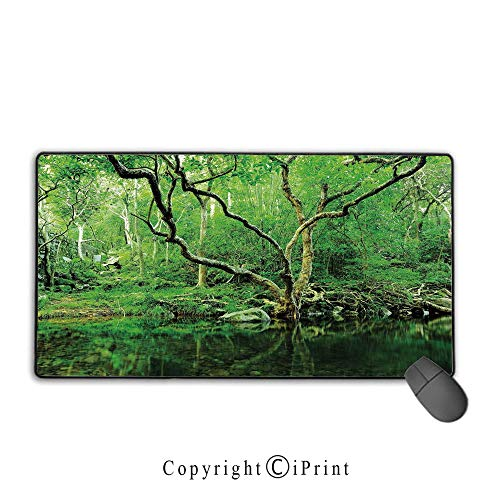 Game speed version medium cloth mouse pad,Green Decor,Forest Moss Leaves Nature Themed Isolated Jungle Image Photo,Dark Brown and Forest Green, Non-slip rubber base Mouse pad with lock,15.8