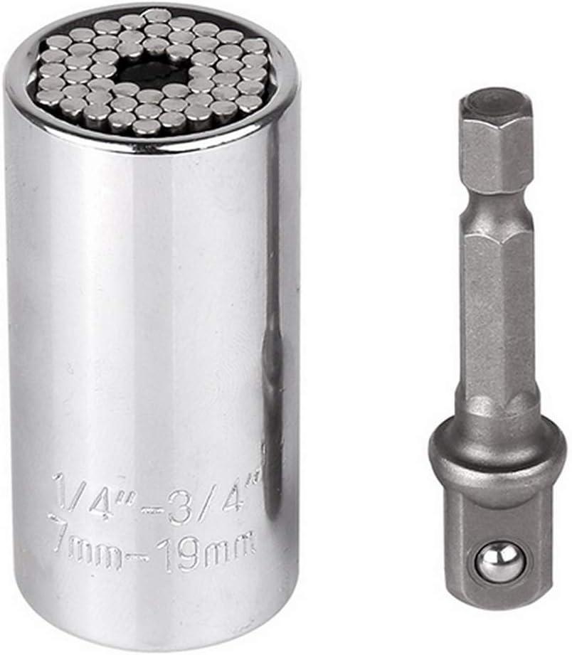 Fesjoy Cl/é /à douille universelle /à r/églage automatique Socket Sleeve 7-19mm Perceuse /électrique Manchon /à cliquet Cl/é /à fourche Cl/é Gator Magic Grip Multi-outils /à main