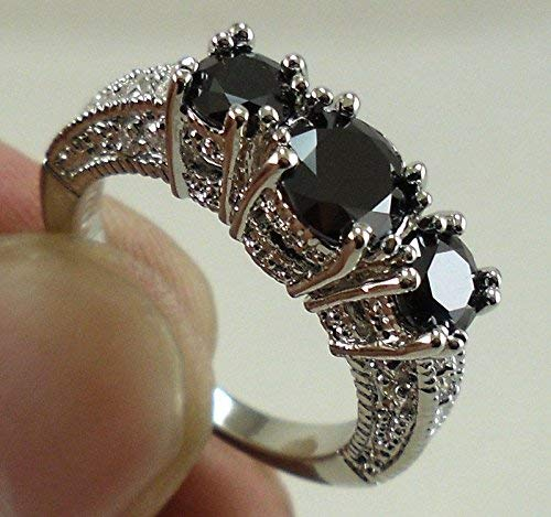 Aisamaisara Charming Women 925 Silver Black Sapphire Three Stone Ring Engagement Wedding (9)