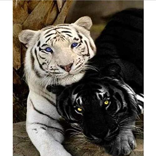 DIY 数による絵画 デジタル油絵黒と白虎動物キャンバス結婚式の装飾アート画像ギフト-50*65cm