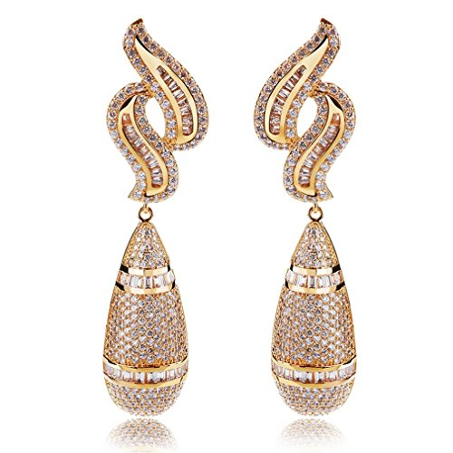 K-Elegant AAA Cubic Zirconia Water drop big Earrings Bridal Wedding earrings by K-Elegant