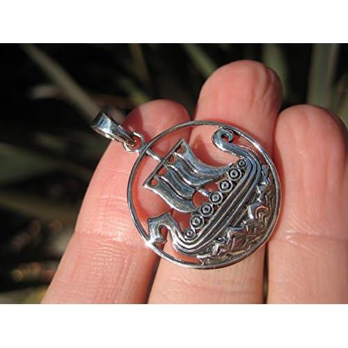 b9131b5d1982 Barato Plata de Ley 925 celta Vikingo barco colgante collar Tailandia joyas  Art A14