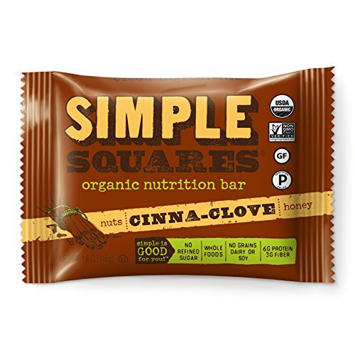 Simple Squares Paleo Protein Bars | Organic, Non GMO, No Dairy, Low Carb, Gluten Free Paleo Snacks Naturally Made For Paleo, and Low Sugar diets. (Cinna-Clove Nuts & Honey - 12 Pack)