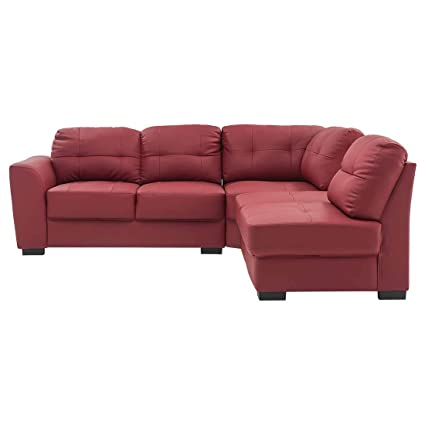 Durian Sherman Five Seater L-Shaped Sofa (Burgundy)