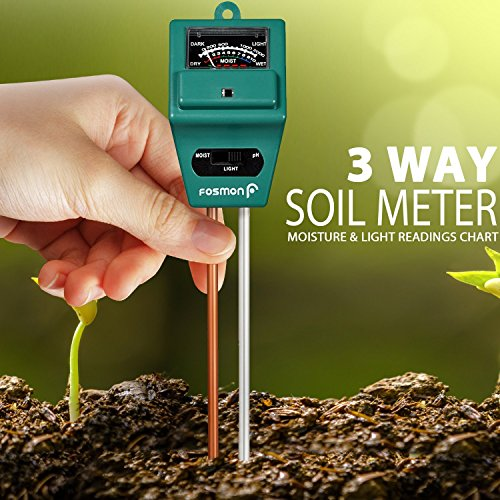 Fosmon Soil Tester Meter, 3-in-1 pH Meter, Soil Sensor for Moisture, Light, pH Level Measurement for Growning Garden, Lawn, Farm, Plants, Flowers, Vegetable, Herbs and More