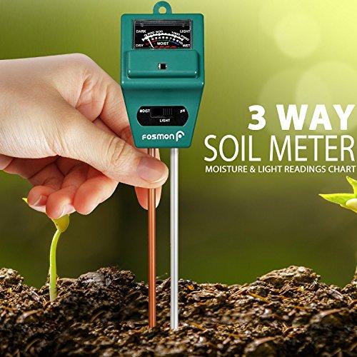 Fosmon Soil Tester Meter, 3-in-1 pH Meter, Soil Sensor for Moisture, Light, pH Level Measurement for Growning Garden, Lawn, Farm, Plants, Flowers, Vegetable, Herbs & More by Fosmon