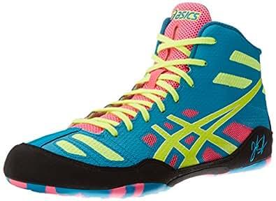 Asics Men's JB Elite Wrestling Shoe,Teal/Flash Yellow/Pink,5 M US/35 EU