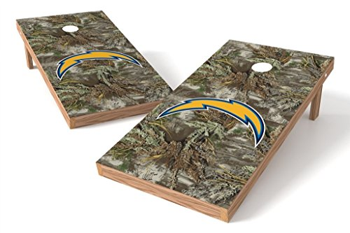 (PROLINE NFL 2'x4' Los Angeles Chargers Cornhole Set with Bluetooth Speakers - Realtree Max-1 Camo Design)