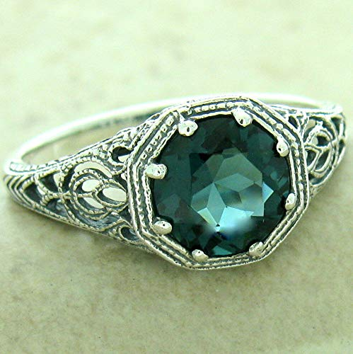 Art Deco Antique Finish 925 Silver London Blue SIM Topaz Ring Size 6 KN-204