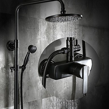 Rain Shower with Ceramic Valve Single Handle Three Holes for Oil-rubbed Bronze , Shower Faucet ()