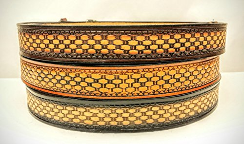 (Leather Belts Embossed Basketweave Design 1 1/2