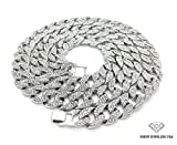 Mens Iced Out Hip Hop Silver tone CZ Miami Cuban Link Chain Choker Necklace (17'')