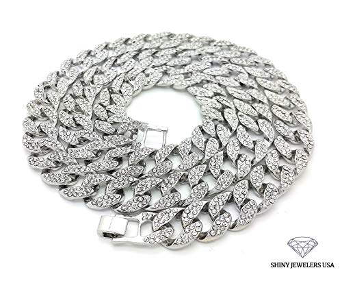 Mens Iced Out Hip Hop Silver tone CZ Miami Cuban Link Chain Choker Necklace (Iced Silver Metal)