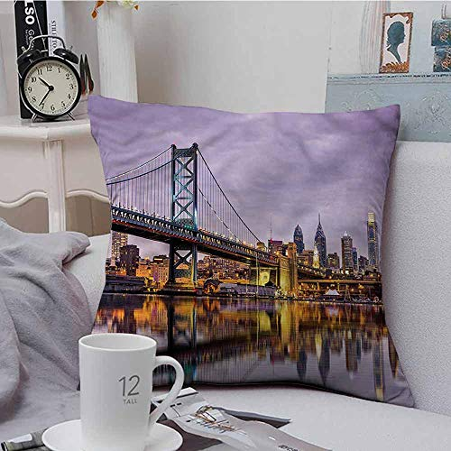 Fbdace Square Throw Throw Pillow Covers USA Ben Franklin Bridge Reflection Resists Stains, Wrinkles 24 X 24 Inch