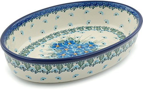 Polish Pottery Oval Baker 11-inch Forget Me Not made by Ceramika Artystyczna ()