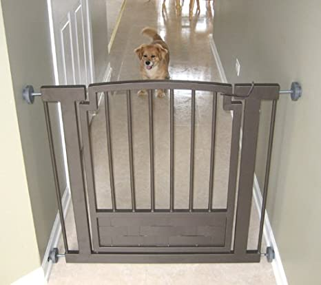This Pet Safety Gate Features A Sturdy, Wrought Iron Design With  Contemporary Styling That Easily Blends Into Any Home Decor. It Is  Pressure Mounted For ...