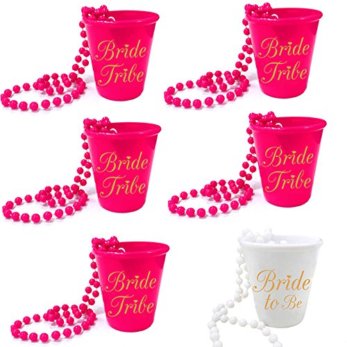 Bachelorette Party Bride and Bride Tribe Shot Glass Necklaces Set (6)]()