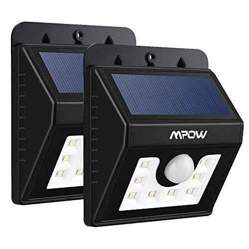 (Pack of 2)LED Solar Motion Sensor Lights, Mpow® 3-in-1 Waterproof Solar Energy Powered Security Light Outdoor Bright Light Lamp with 3 Intelligient Modes for Garden, Outdoor, Fence, Patio, Deck, Yard, Home, Driveway, Stairs, Outside Wall etc.( 8 LED)