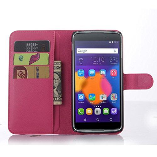 Manyip Funda Alcatel One Touch Idol 3 (5.5),Caja del teléfono del cuero,Protector de Pantalla de Slim Case Estilo Billetera con Ranuras para Tarjetas, Soporte Plegable, Cierre Magnético(JFC3-6) I