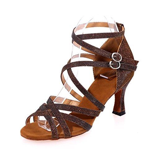 L Latin Intérieur Talons yc Danse En À Femmes Débutant Professionnel Pour Chaussures Hauts Brown Cuir De p6xpwqXrP