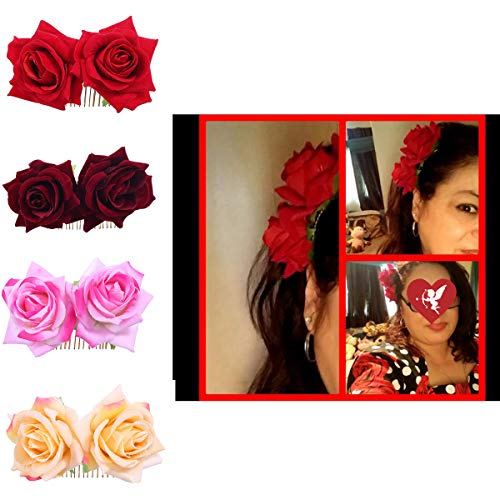 Ever Fairy Rose Flower Hair Clip Slide Flamenco Dancer Pin Flower Brooch Lady Hair Styling Clip Hair Accessories (4 Colors pack)