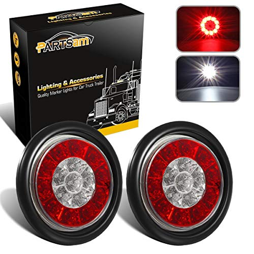 "Partsam 2Pcs 4"" Inch Round LED Trailer Tail Lights 16LED w Rubber Grommet, Waterproof Sealed Round Red Stop Turn Tail Brake Running Lights White Reverse Backup Lights Lamps for RV Trailer Trucks"