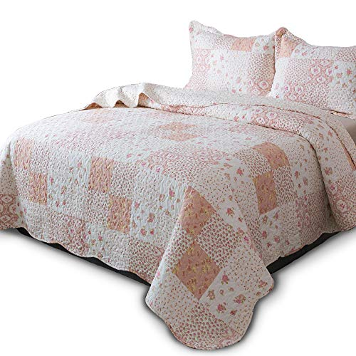 KASENTEX Country-Chic Printed Pre-Washed Quilt Set - Microfiber Fabric Quilted Pattern Bedding (Multi-Pink, Queen + 2 Shams)