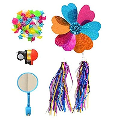 1Sets 5Pcs Kid's Children Bicycle Scooter Bike Bell Ring Small Mirror Glass Flower Pinwheel Star Handlebar Streamers Colour Ribbons Grips Sparkle Tassel Bike Carrier Accessories