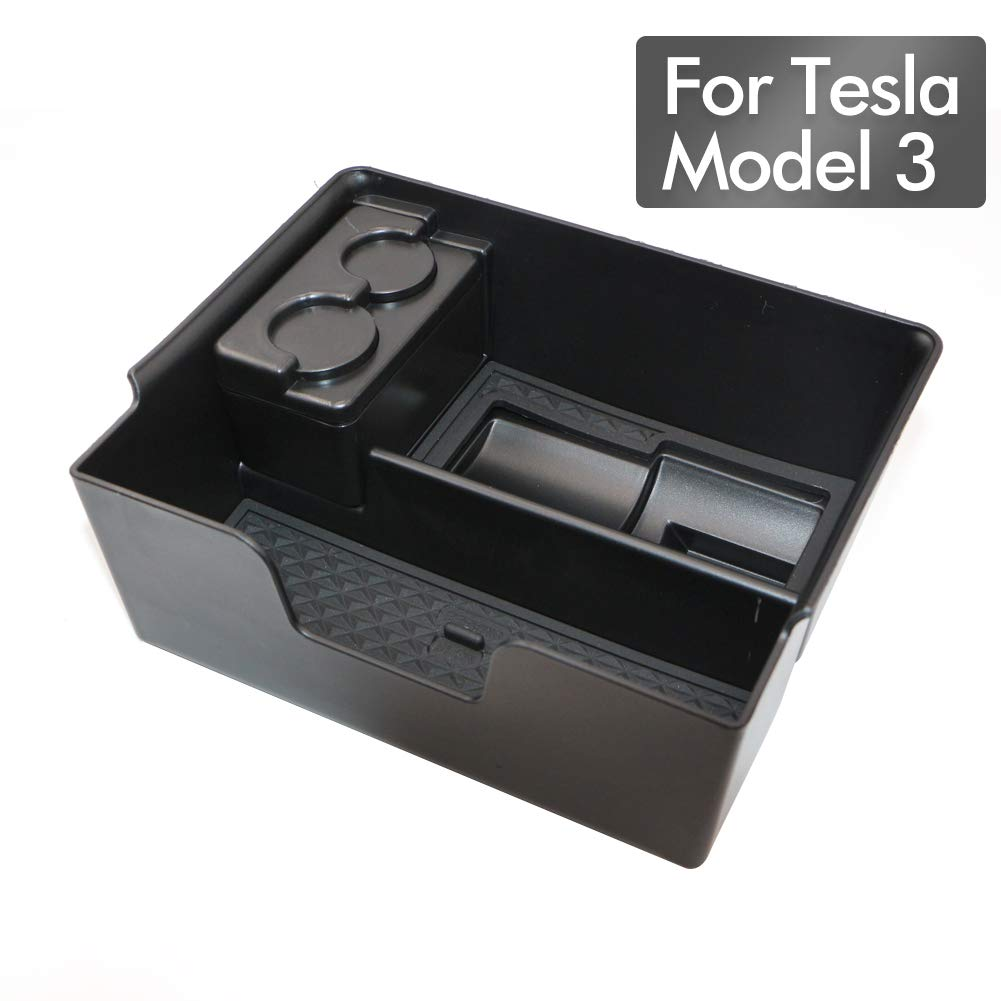 Mizzuco Center Console Organizer Tray for Tesla Model 3 Armrest Storage Box Tray with Charging Adapter Holder + Coin Box