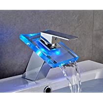 AuraLum Basin LED Faucet Waterfall with Single Handle for Bathroom Vanity Sink, Glass Chrome RGB Mixer, Spout Height (2.36 inch)