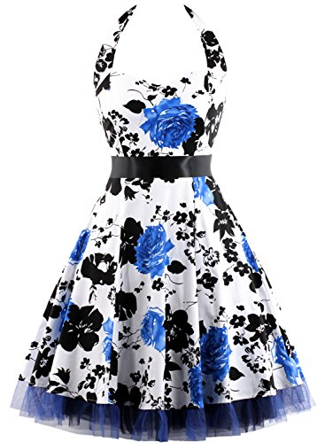 [OTEN Women's Floral Vintage 1950s Halter Rockabilly Gown Cocktail Party Dress (Medium, Blue Floral)] (Rockabilly Costumes)