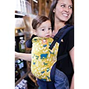 Baby Tula Multi-Position, Ergonomic Baby Carrier, Front and Back Carry for 15 – 45 pounds – Fable (Yellow-Green and Blue Woodland Animals)