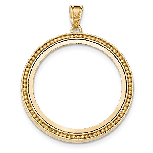 (Jewelry Stores Network 14k Yellow Gold Beaded Polished Prong One 1 oz Panda Coin Bezel)