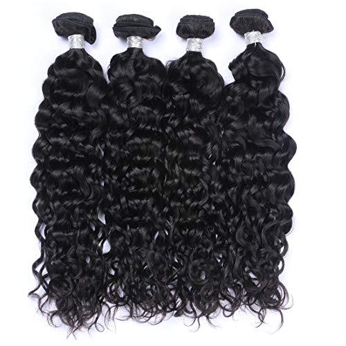 Dingfeng Hair Brazilian Water Wave 4 Bundles Big Sale Wet and Wavy Human Hair Bundles 7A Unprocessed Virgin Brazilian Hair Weave Human Hair Natural Color(16161616, Water) (Best Brazilian Hair For Sale)