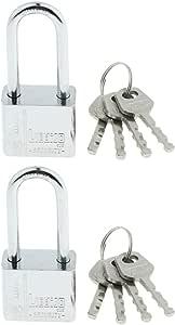 Perfk 3mm High Security 4 Keys Padlock Heavy Duty Steel Anti Rust Shutter Shackle