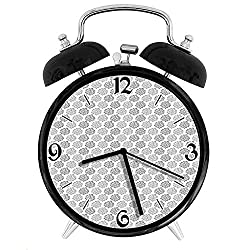 one-six-seven Vintage Inspired Greyscale Foliage Floral Composition Antique Illustration Desk Clock Home Unique Decorative Alarm Ring Clock 4in