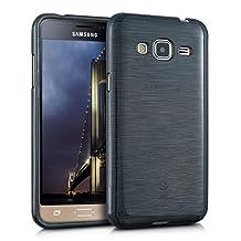 kwmobile TPU SILICONE CASE for Samsung Galaxy J3 (2016) DUOS Design brushed aluminium anthracite transparent - Stylish designer case made of premium soft TPU