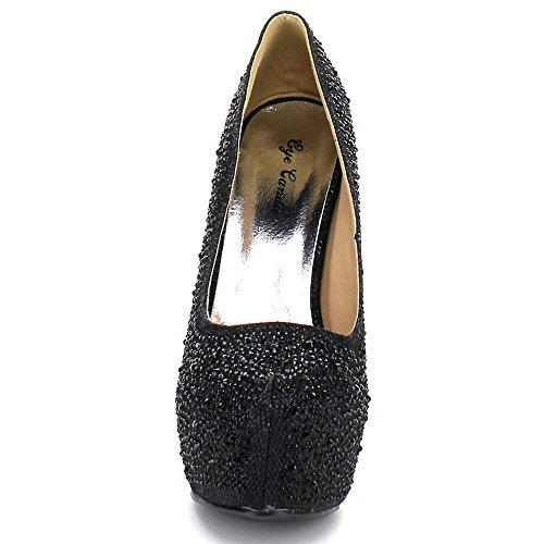 Eye Candie Womens Celine-85W Fashion Shiny New Design Platform Pump Black 5AQrgQHKX
